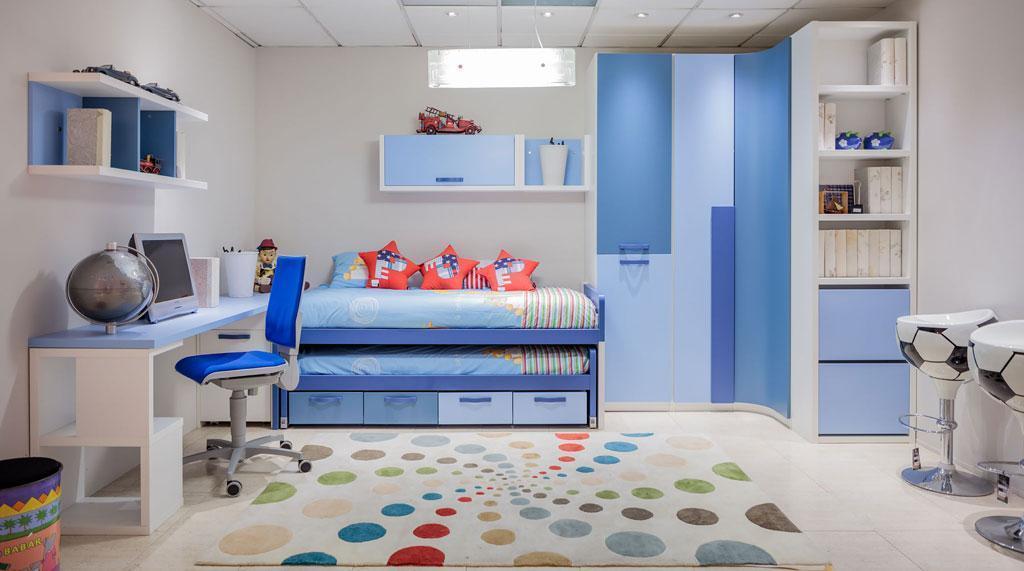 Dormitorio juvenil compacto en azules cover for Dormitorio juvenil compacto